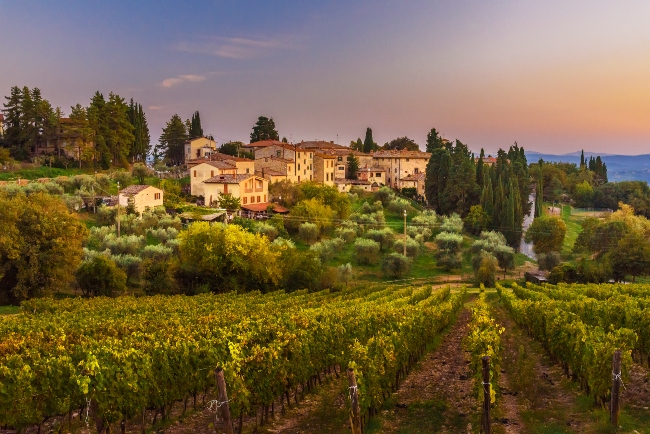 View on hamlet Fonterutoli on sunset. It is old bastion of Castellina in Chianti in province of Siena. Tuscany. Italy.